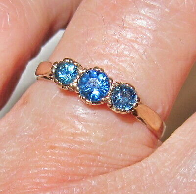 Vintage 375/9ct Yellow Gold Trilogy Real Blue Sapphire Ring UK  P 1/2 ,~SIGNED~  • 110£
