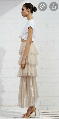 AU125 • Buy SHONA JOY Tierred Maxi Skirt Layered Apricot Gold Lurex AS NEW CONDITION 8