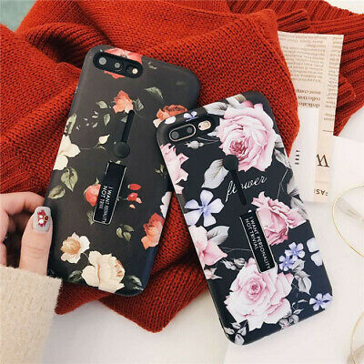 Retro Floral Phone Case For IPhone 11 12 Pro 6 7 XR Ring Loop Finger Strap Cover • 4.39£