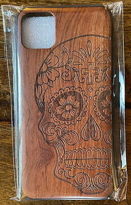 Iphone 11 Pro Max Case Wooden Effect Engraved Skull Mexican • 2.80£