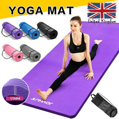 £11.99 • Buy 15MM Thick Yoga Mat Gym Workout Fitness Pilates Wome Exercise Mat Non Slip UK