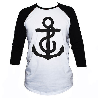 Anchor T Shirt Unusual Retro Nautical 3/4 Sleeve Classic Unisex Fit Tee • 17.75£