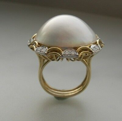 $1250 • Buy   18k Yellow Gold Mabe Pearl 22mm And Diamond Ring