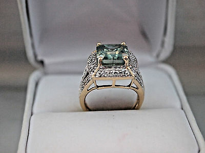 AU873.26 • Buy 14k Yellow Gold 4.12Ct Green & White Diamond Ring