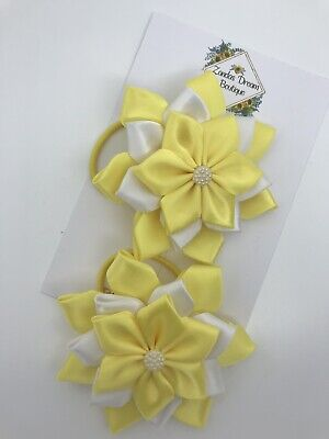 Pair Of Yellow And White Hair Bobbles,school Bows,flower Bows • 5£