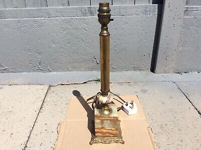 Vintage Brass Marble Column Bedside Table Lamp  • 30£