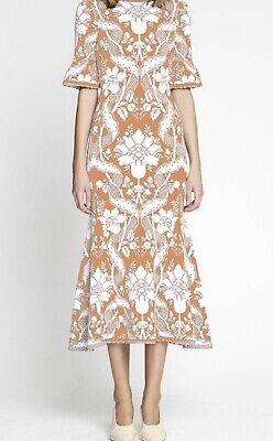 AU250 • Buy ALICE McCall Sittin Pretty Tangerine/Blush Midi Dress Size 12  Brand New RRP$450