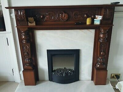 ANTIQUE CARVED MAHOGANY FIRE SURROUND (Adam Style). EXCELLENT CONDITION! • 150£