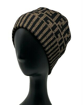 AU394.97 • Buy Authentic FENDI Vintage Zucca Knit Cap Beanie Head Accessories Wool Rank AB