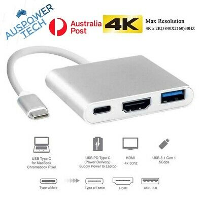AU11.50 • Buy Type C To USB-C HDMI USB 3.0 Adapter Converter Cable 3 In 1 Hub For MacBook Pro
