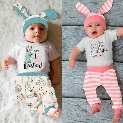 Infant Baby Boy Girl Easter Rabbit Printed Romper Bodysuit+Striped Pants Outfits • 8.99£