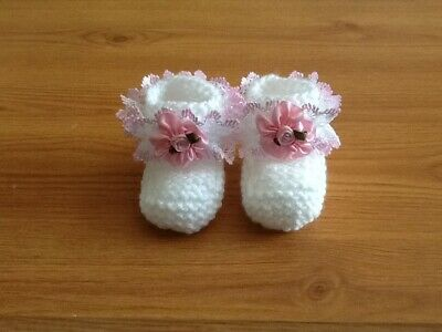 Baby Girls New Hand Knitted Booties Newborn White / Pink Lace & Flower • 1.99£