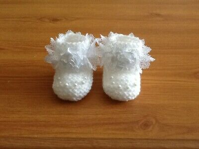 Baby Girls New Hand Knitted Booties Newborn White / White Lace & Flower • 1.99£