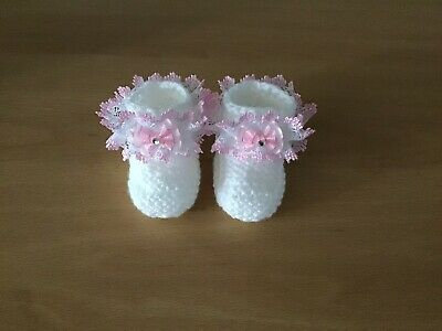 Baby Girls New Hand Knitted Booties Newborn White / Pink Lace & Sparkly Bow • 4£