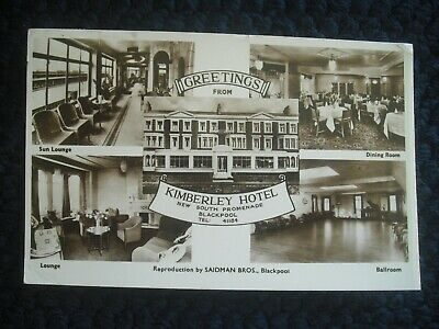 Postcard , Greetings From Kimberley Hotel, South Prom, Blackpool, Lancs 1959 • 2.99£