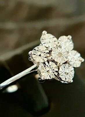 Ladies 925 Sterling Silver Diamond Floral Flower Band Ring Size U • 18.95£