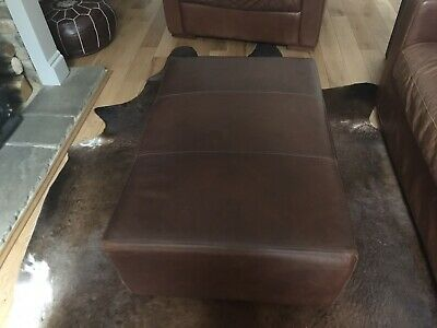Brown Real Leather Pouffe/footstool • 90£