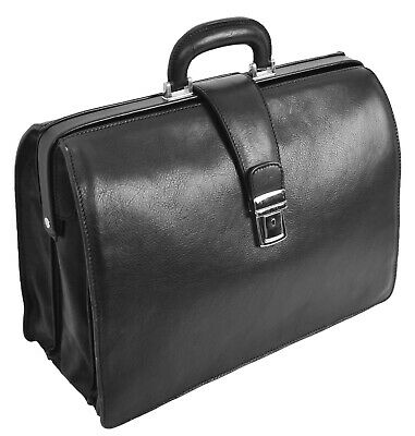 $411.68 • Buy Italian Leather Doctors Bag Business Professionals Gladstone Briefcase Black NEW