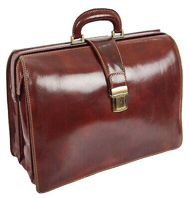 $411.68 • Buy Italian Leather Doctors Bag Business Professionals Gladstone Briefcase Brown NEW