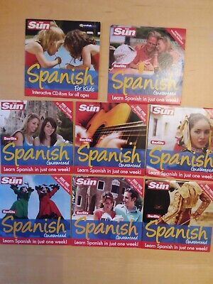 8 X Berlitz / The Sun Promo CDs Learn Spanish In A Week, Inc One For Kids • 2.20£