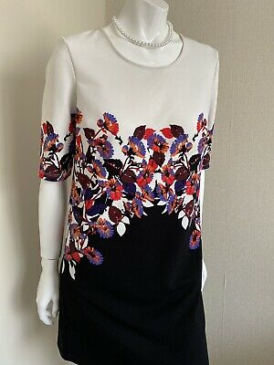 Ladies Next Black/ivory Flowered Dress Size 6 • 2.99£