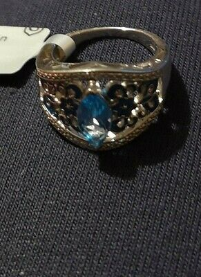 Swiss Blue Topaz Sterling Silver And Blue Enamel Ring, Limited Edition. • 11.10£
