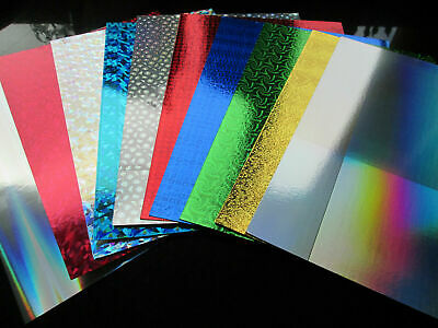 8 Sheets Of A4 Luxury Metallic Mirror / Holographic Card Making / Scrapbook • 2.99£