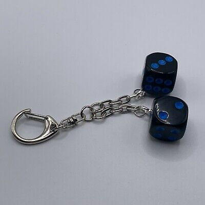 £1.79 • Buy Double D6 - Dice Keyring - Black Opaque With Dark Blue Pips - 007.