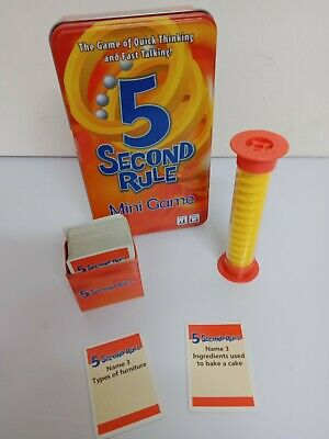 AU19.99 • Buy 5 Second Rule Tinned Family Board Game Complete - 04475TIN