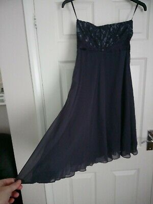 Coast, Navy And Blue Dress, Size 8, Strapless With Lace Detail • 7£