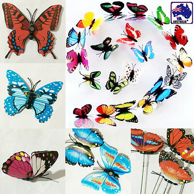 AU5 • Buy 20pcs Artificial 3D Butterflies Magnetic / Clip / Wired Butterfly Wedding GBFLY