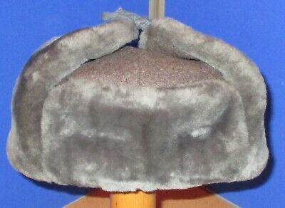 Grey Simulated Fur Hat Russian Russian Military Size 56 • 3£