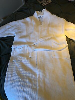 White Cotton Waffle Dressing Gown Hotel Spa Day At Home Valentines M/L • 7.50£