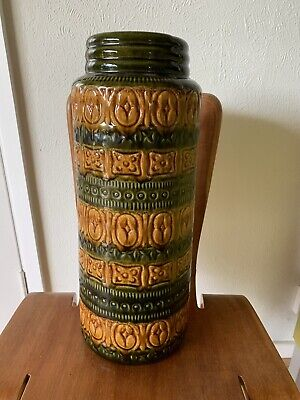 Vintage West German Pottery Floor Vase - Scheurich 289-41 - Carved Green Brown • 39.99£