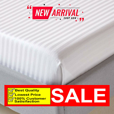 £12.99 • Buy Egyptian Cotton 400TC Striped Deep Fitted Sheet Single Double King Super King