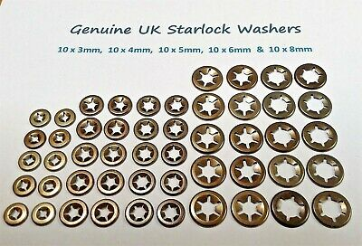 £4.79 • Buy Starlock Washers Push On Shaft Metal Star Nut Speed Retainers Fasteners Clips