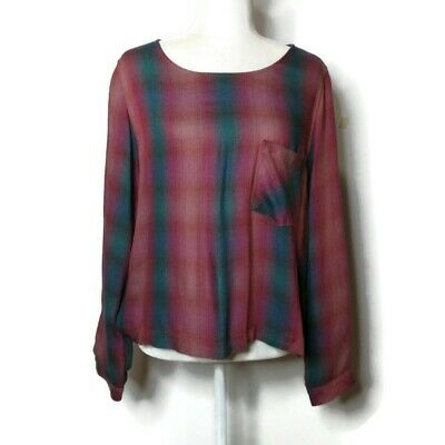 $ CDN38.14 • Buy Anthropologie Cloth & Stone Blouse Top Plaid Check Lace Up Back Size Medium Red