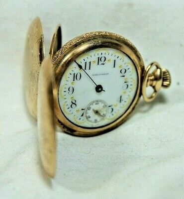 Antique Waltham Small Gold Pretty Porcelain W Gold Face Pocket Watch Hunter Case • 10.96£