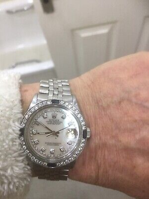Mens Vintage ROLEX Oyster Perpetual Datejust 36mm White Dial Diamond Bezel Watch • 2,050£
