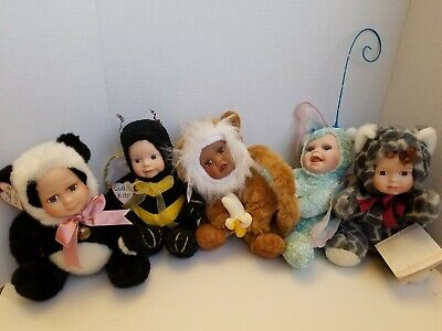 $ CDN69.43 • Buy Geppeddo Cuddle Kid Porcelain Face Doll Lot 5 Monkey Bee Butterfly Panda Leopard