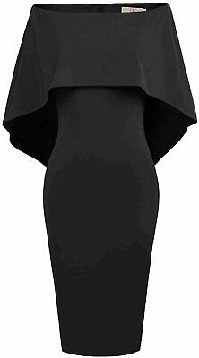 GRACE KARIN Women Off Shoulder Batwing Cape Midi Dress, Black, Size 3.0 RtXZ US • 12.99£