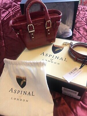 ASPINAL OF LONDON Red Croc Print Leather Marylebone Micro. • 150£