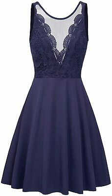 GRACE KARIN Women Sleeveless Lace Patchwork Deep V-Neck A, Blue, Size XX-Large • 12.99£