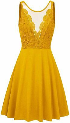 GRACE KARIN Women Sleeveless Lace Patchwork Deep V-Neck A, Yellow, Size Medium • 12.99£