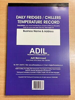 £6.99 • Buy Daily Fridge/chiller Temperature Log Book Record Checklist Food Hygiene & Safety