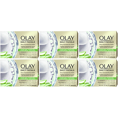 AU57.40 • Buy 6 X Olay Daily Facials Sensitive Water Activated Dry Cloths, 5-in-1 - Cleansing