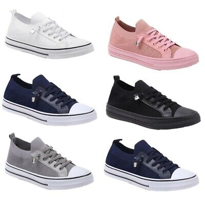 $ CDN26.28 • Buy Womens Lace Up Trainers Ladies Running Flat Comfy Gym Plimsoles Pumps Shoes Size