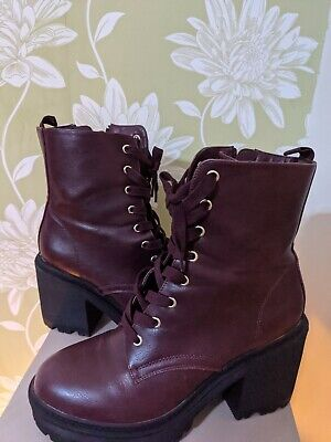 New Look Burgundy Chunky Boots UK 7 • 9.99£