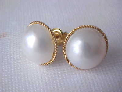 $219 • Buy 11.5mm Aaa Genuine White Mabe Pearl Stud Earrings Solid 17k Yellow Gold
