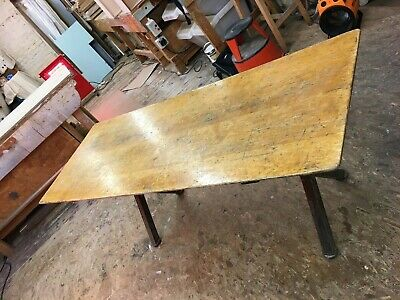 UPCYCLED SCHOOL DESK Or  TABLE TOP NEW METAL LEGS SOLID BEECH TOP RECLAIMED • 155£